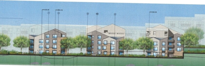A rendering of the apartments seen from Rancho Santa Fe Road.