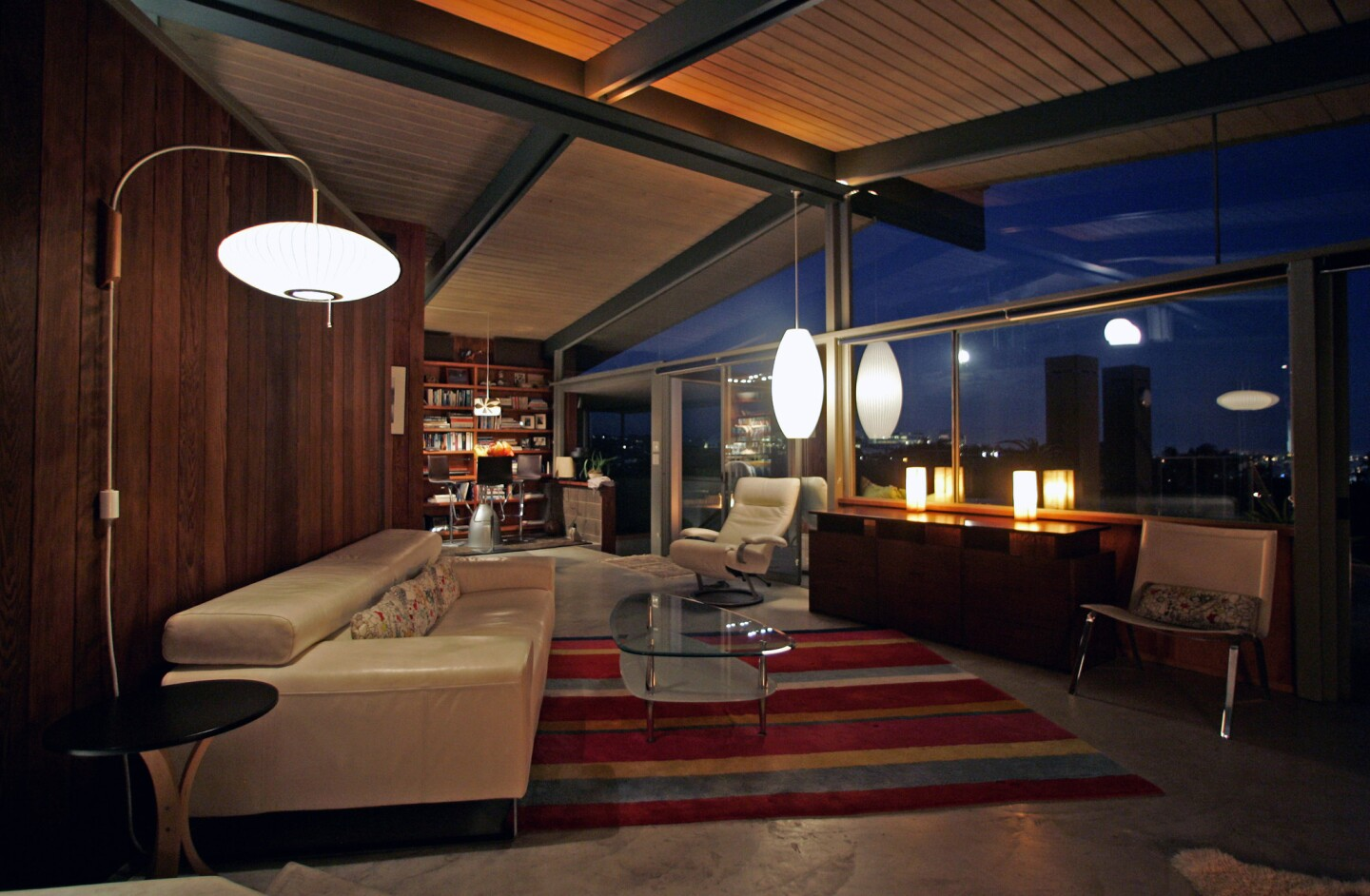 The interior of a restored midcentury home in the historic Crestwood Hills neighborhood of Brentwood.