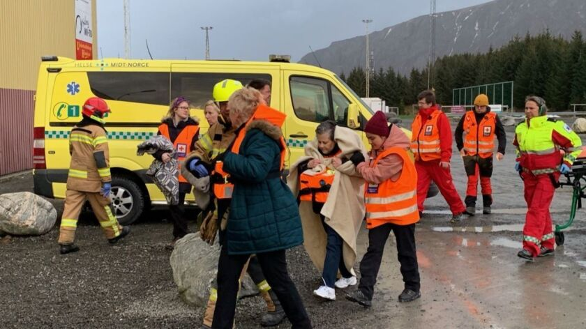 Stranded passengers rescued by helicopter from the cruise ship Viking Sky on Saturday on the west coast of Norway.