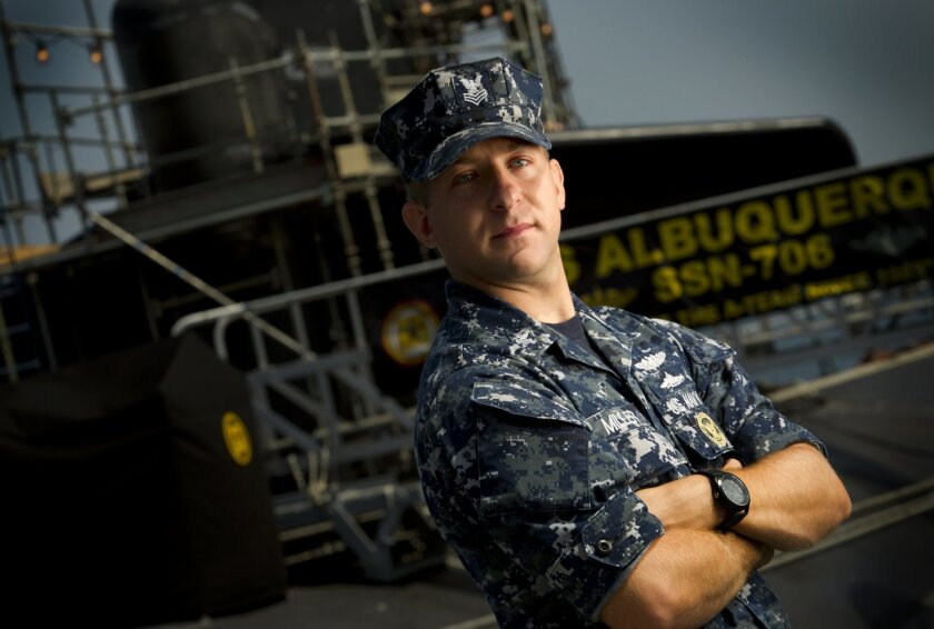 Submariner, Navy Petty Officer First Class Daniel Miller at Naval Base Point Loma.