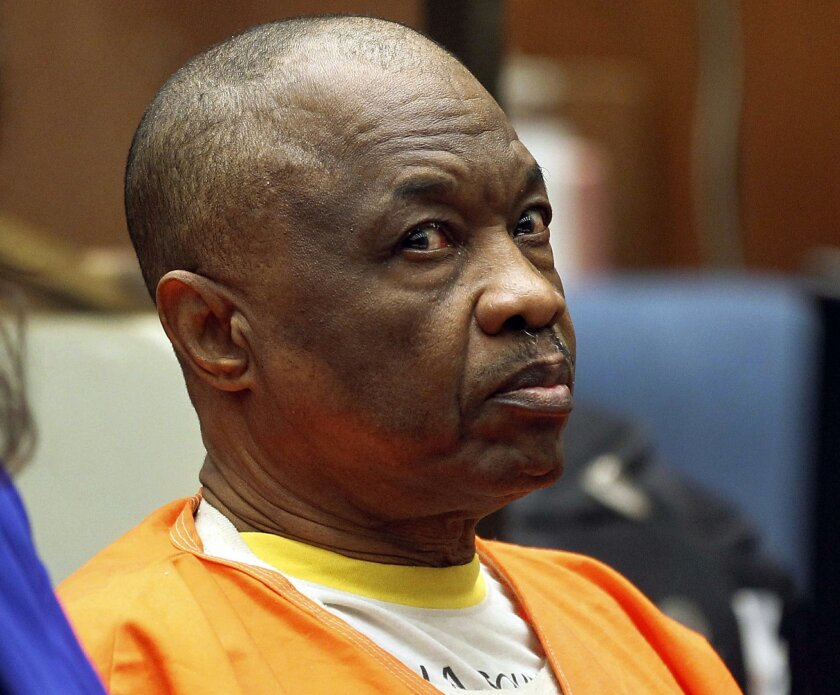 FILE - In this Feb. 6, 2015, file photo, Lonnie David Franklin Jr., appears at a hearing in Los Angeles Superior Court. More than 30 years since the bodies of young women started turning up in alleyways and garbage bins in south Los Angeles, attorneys are set to give opening statements Tuesday, Feb