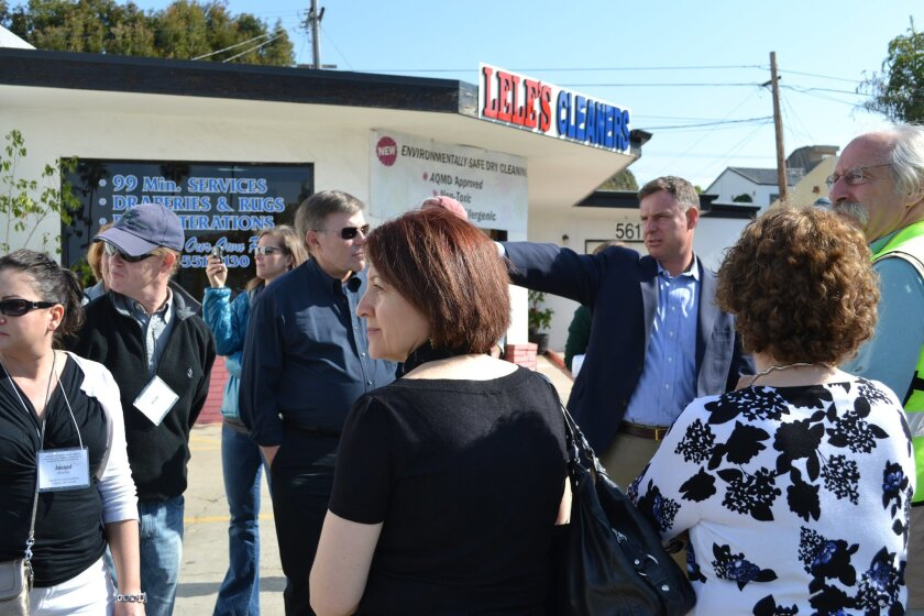 Scott Peters led a walking tour of Bird Rock Feb. 2 that focused on the areas revitalization and traffic calming aspects. Photo Courtesy MaryAnne Pintar.