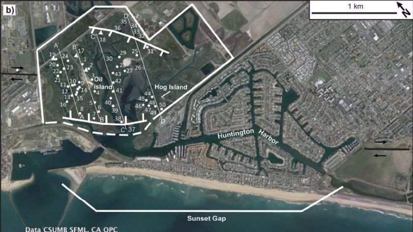 Researchers studied prehistoric layers of sediment in a gap of the Newport-Inglewood fault known as the Sunset Gap. They took sediment samples from 55 locations that suggest the land in this region suddenly dropped by as much as 3 feet during major earthquakes.