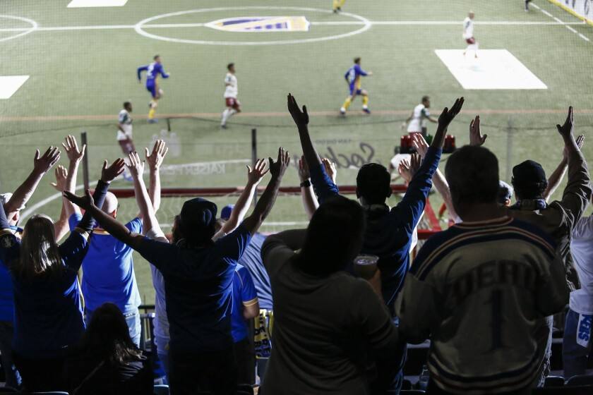 Sockers fans cheer during an April 28 game against Monterrey at Pechanga Arena in San Diego. The team could be moving to Oceanside if an arena plan is approved.
