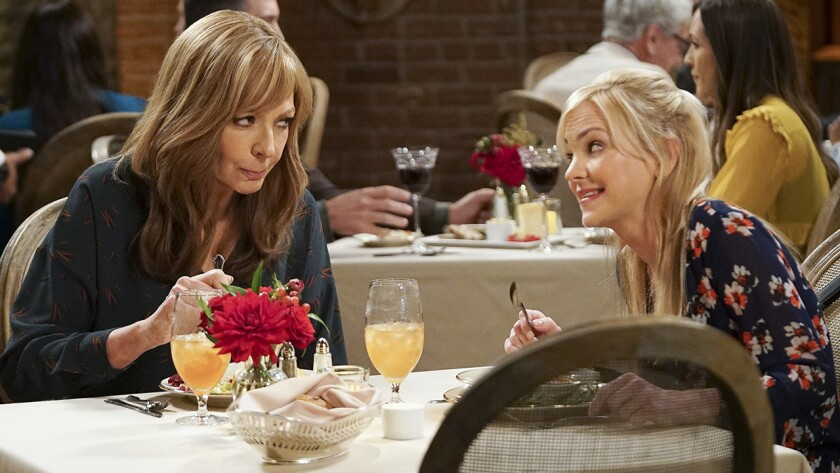 "Allison Janney, left, and Anna Faris in a Valentine's Day episode of ""Mom"" on CBS."