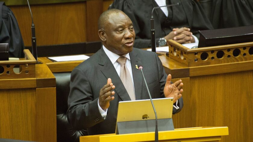 South African President Cyril Ramaphosa delivers the State of the Nation address in Parliament in Cape Town, South Africa, on Feb, 7, 2019.