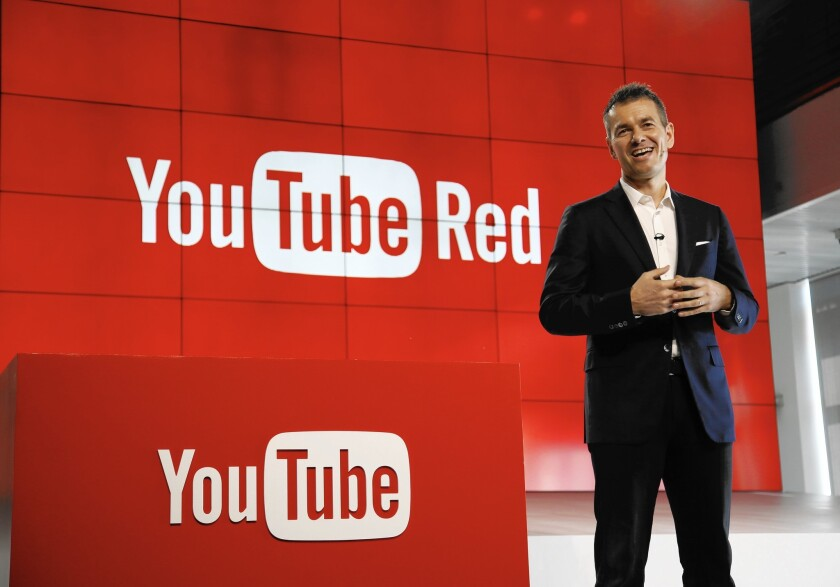 Robert Kyncl, YouTube's chief business officer, unveils the Red subscription service in Playa Vista.)