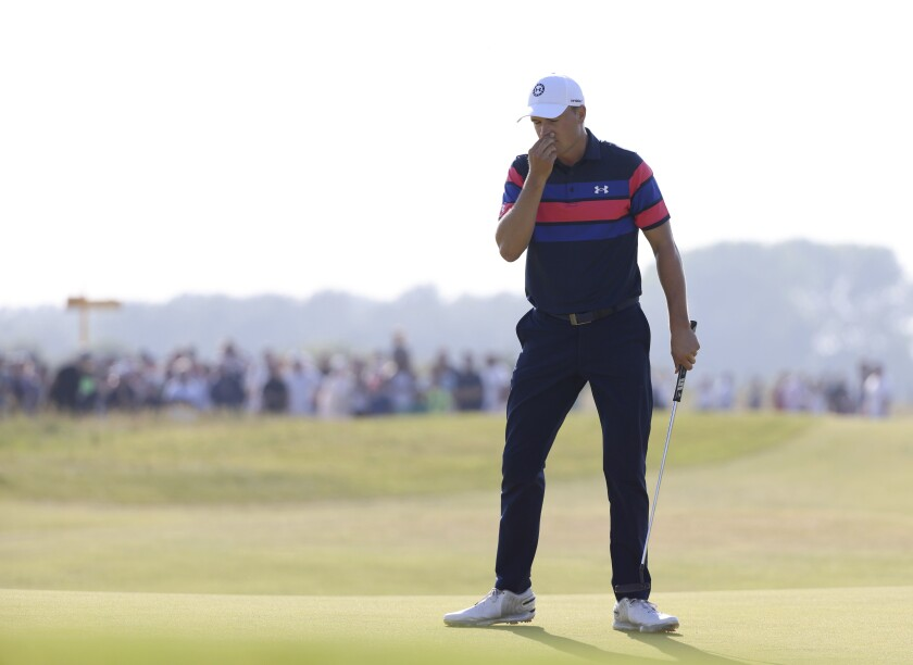 United States' Jordan Spieth reacts after missing a put on the 16th during the final round of the British Open Golf Championship at Royal St George's golf course Sandwich, England, Sunday, July 18, 2021. (AP Photo/Ian Walton)