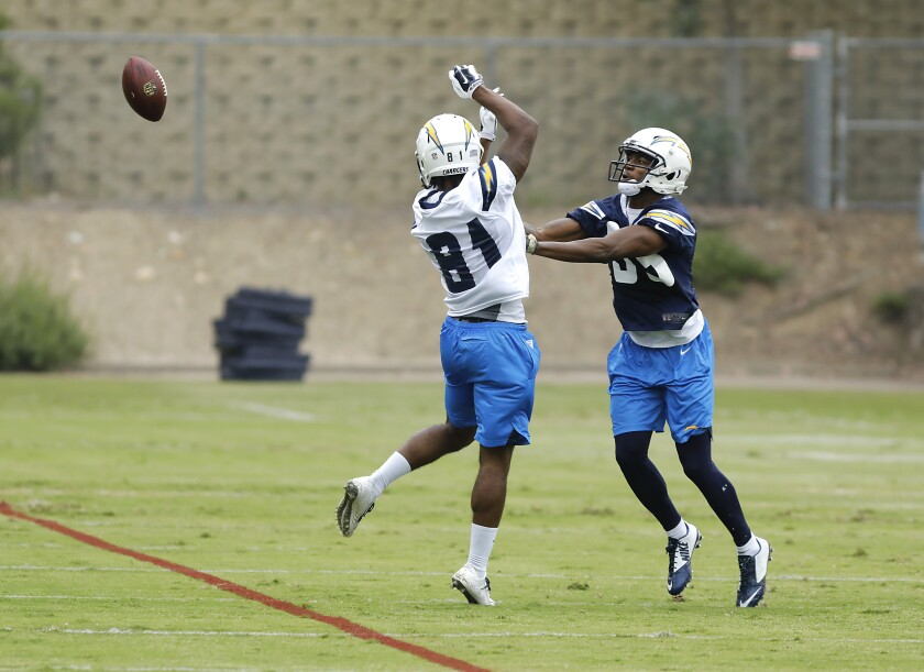 Michael Lee pushes away rookie wide receiver Da'Ron Brown during rookie camp practice at Chargers Park.