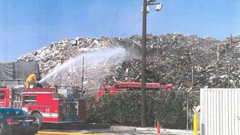 Fire at Boyle Heights recycling center