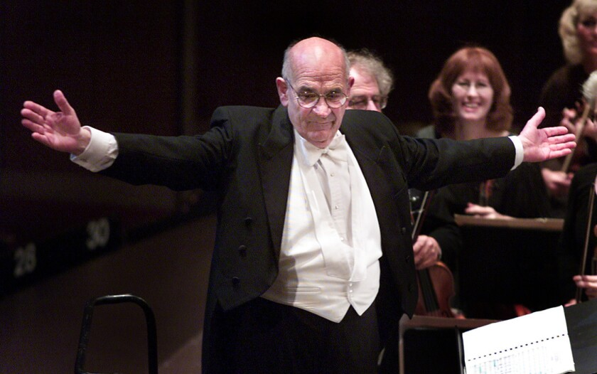 Conductor Paul Salmunovich makes his final appearance as conductor of the Los Angeles Master Chorale at the Dorothy Chandler Pavilion in 2001.