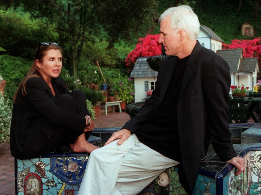 """Carrie Fisher interviews Steve Martin about his film """"Bowfinger"""" in 1999."""