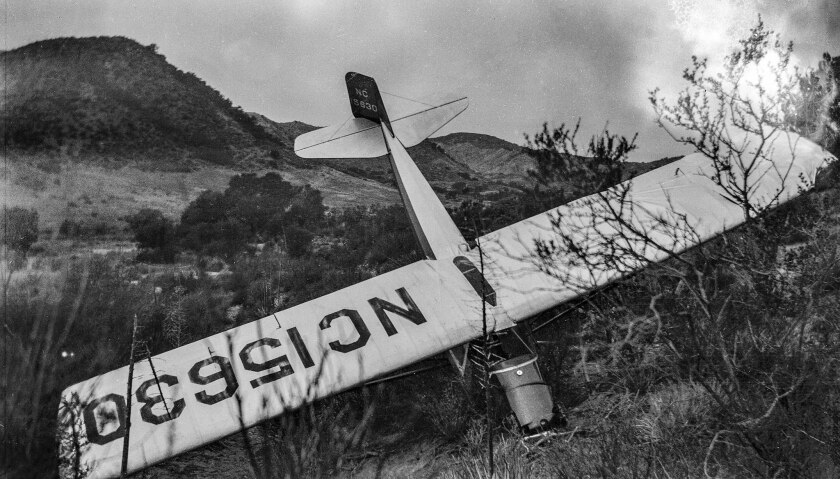 Feb. 10, 1936: A stolen two-seater Taylor Cub aicraft found crashed in Mint Canyon near modern day A