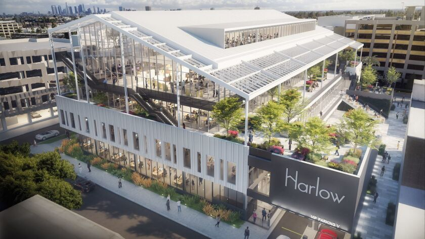 A rendering of Harlow, a $79-million office building under construction at Sunset Las Palmas Studios in Hollywood. Historic movie lots in the area are getting new development as streaming-video newcomers expand.