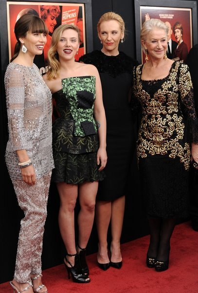 """""""Hitchcock"""" actresses Jessica Biel, from left, Scarlett Johansson, Toni Collette and Helen Mirren attend the premiere for Sacha Gervasi's film """"Hitchcock,"""" which stars Anthony Hopkins as famed director Alfred Hitchcock during his time making """"Psycho."""" The film opens Friday."""