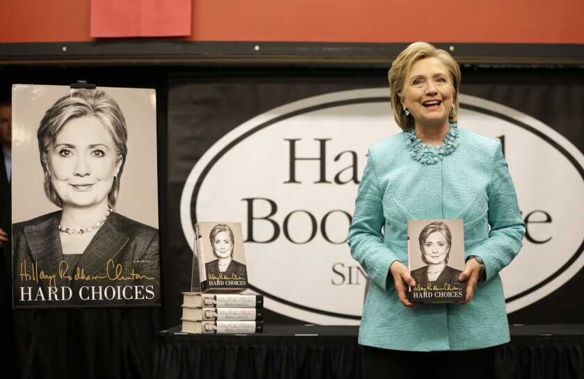"Hillary Rodham Clinton on the promotion circuit with ""Hard Choices"" at a book signing at Harvard in Cambridge, Mass."