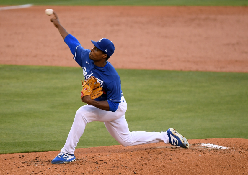 Dodgers prospect Josiah Gray pitches against the Angels during a preseason game July 21 at Dodger Stadium.