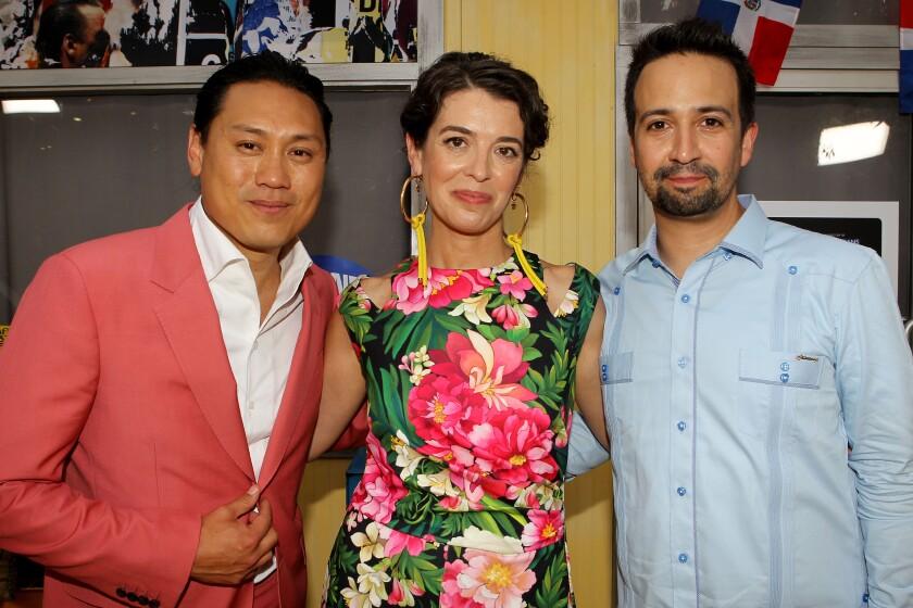 Director Jon M. Chu, left, screenwriter Quiara Alegría Hudes and songwriter Lin-Manuel Miranda.