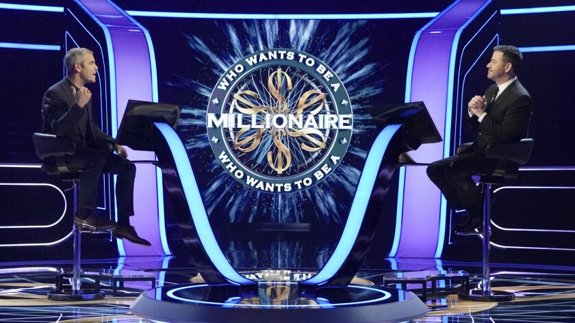 """""""Who Wants to Be a Millionaire"""" with Andy Cohen, left, and host Jimmy Kimmel."""