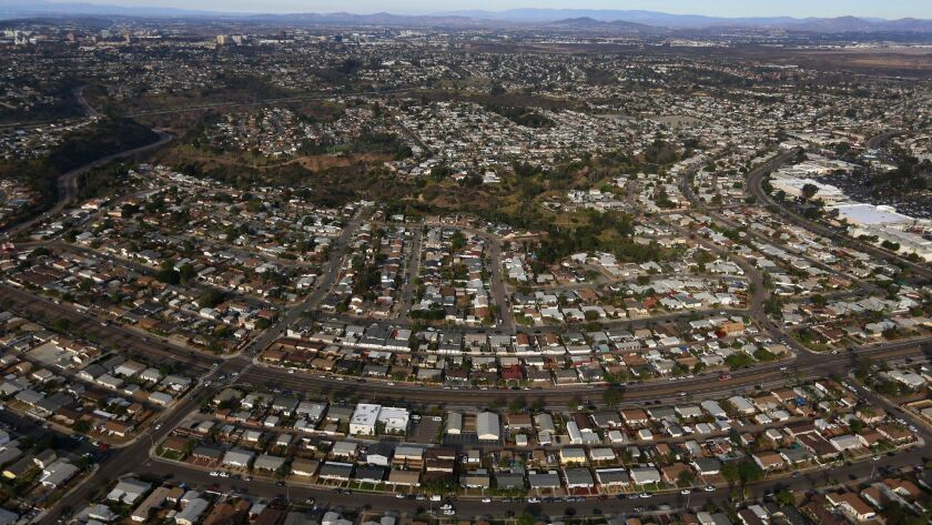 A aerial view of houses in the San Diego neighborhood of Clairemont in December.