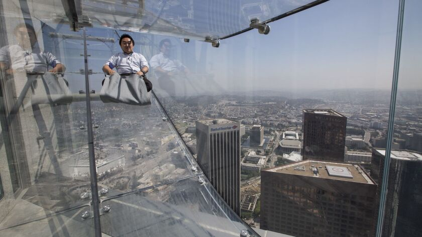 LOS ANGELES, CALIF. -- THURSDAY, JUNE 23, 2016: Medoa members take a 4-second ride 1,000 feet above