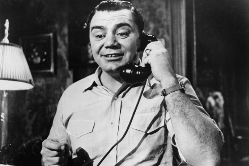 "Ernest Borgnine on the phone in a scene from the 1955 film ""Marty."""