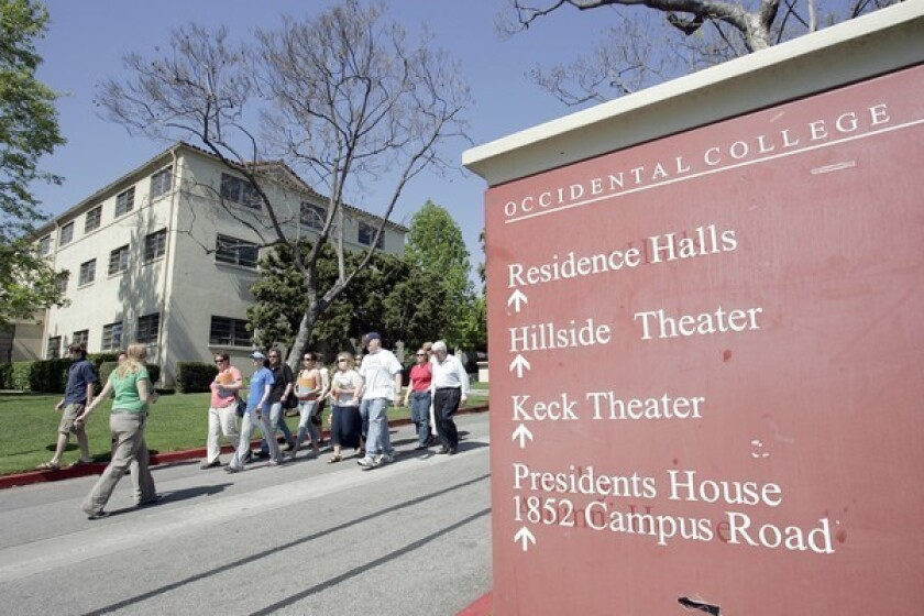 A group of high school students takes a tour of Occidental College in Eagle Rock in 2006.
