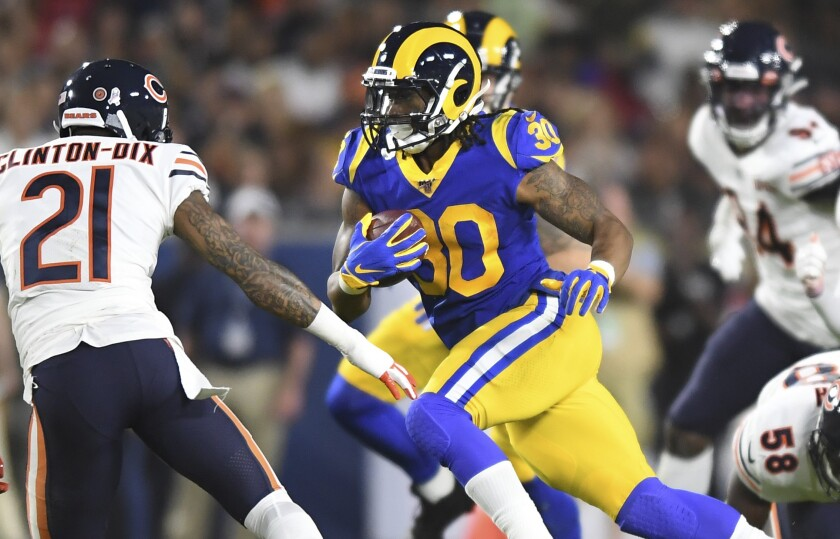 Rams running back Todd Gurley carries the ball against the Bears.