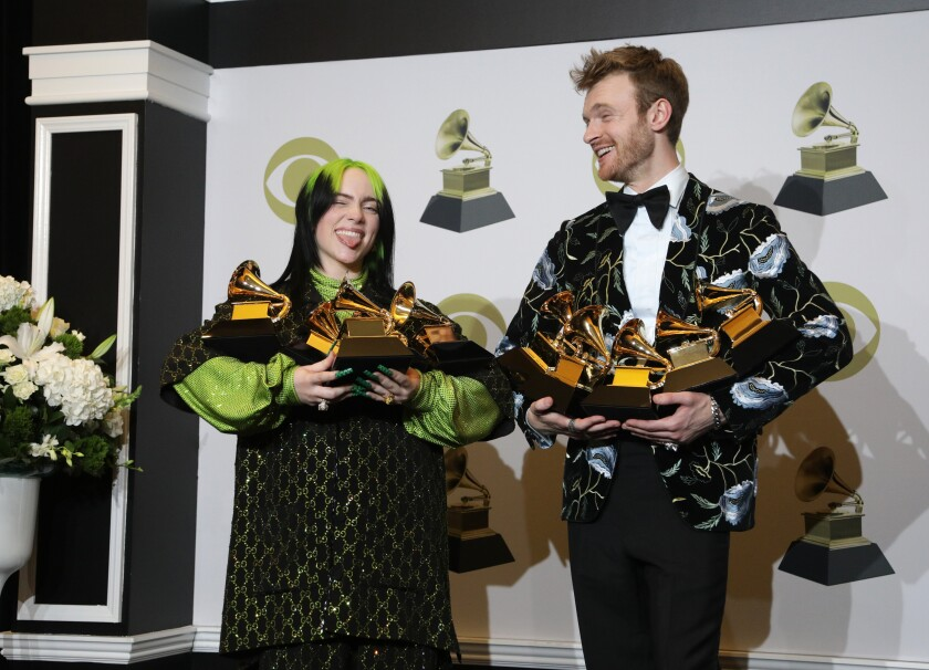 Billie Eilish, left, and Finneas O'Connell