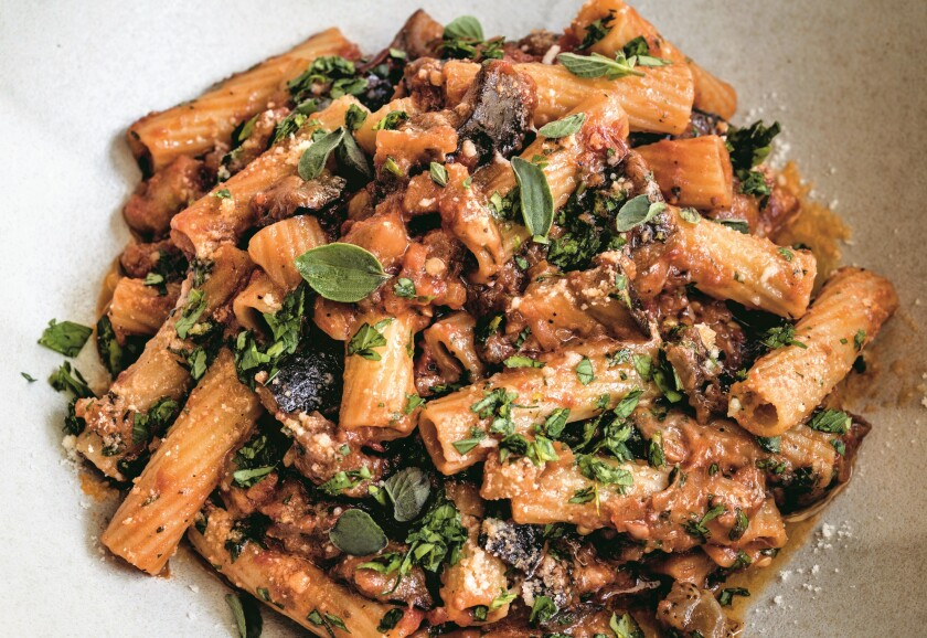 "Eggplant Bolognese from the ""Bobby At Home"" cookbook."