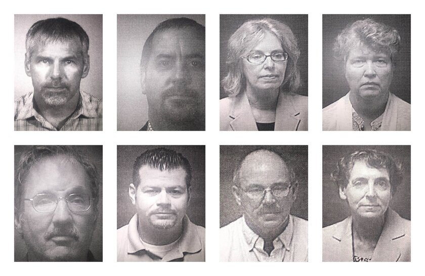 This combination of undated booking photos provided by the Michigan Attorney General's Office on Friday, Aug. 19, 2016 shows current and former state employees under prosecution for their role in Flint, Mich.'s lead-contaminated water crisis. First row from left are Patrick Cook, Michael Glasgow, C