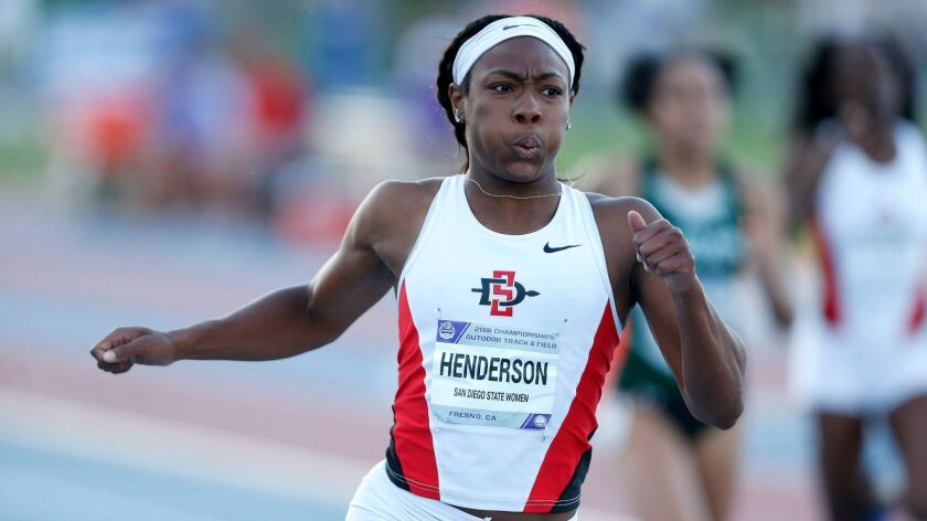SDSU senior Ashley Henderson, shown here at the Mountain West championships last month outside Fresno, reached the NCAA final in the 200 meters.