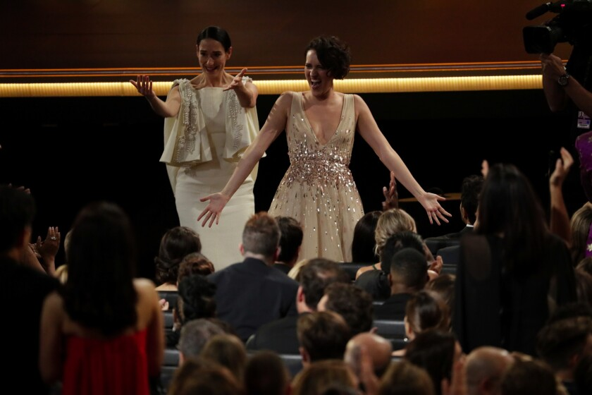 """Fleabag"" creator and star Phoebe Waller-Bridge, right, with co-star Sian Clifford at the Emmys."