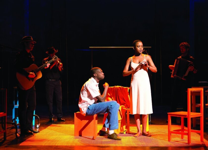 """A performance of """"The Suit"""" in Paris with Rikki Henry and Nonhlanhla Kheswa (who also appears in the UCLA production)."""