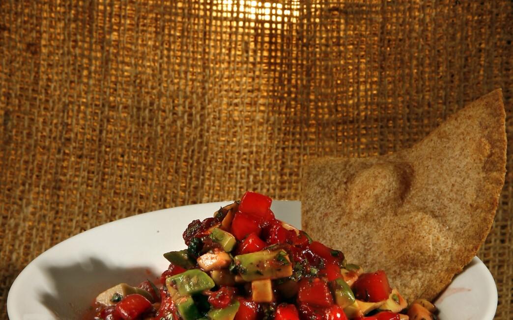 Cinnamon tortilla chips with strawberry-avocado salsa