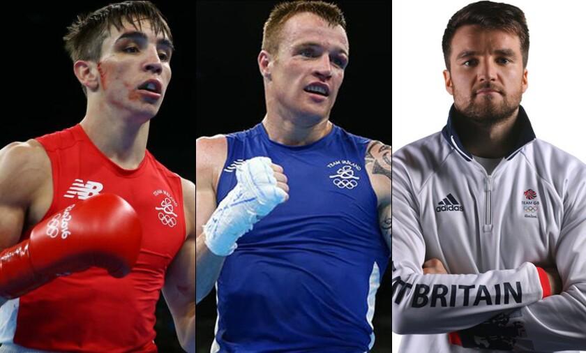 Los boxeadores Michael John Conlan (i), Steven Gerard Donnelly (c) y Antony Fowler acusados y 'castigados' por hacer apuestas en Río 2016.