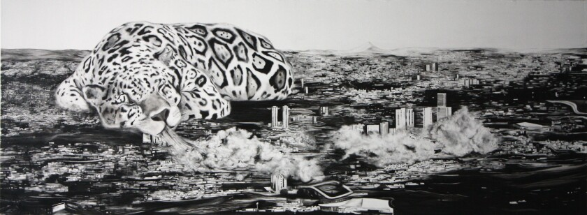 "Luis Alfonso Villalobos' 2011 ink-on-canvas work ""Blow"""