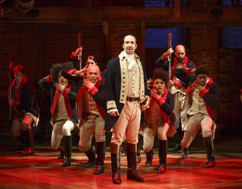 "Lin-Manuel Miranda, center, created and stars in ""Hamilton,"" which is considered a shoo-in to win the Tony for best musical."