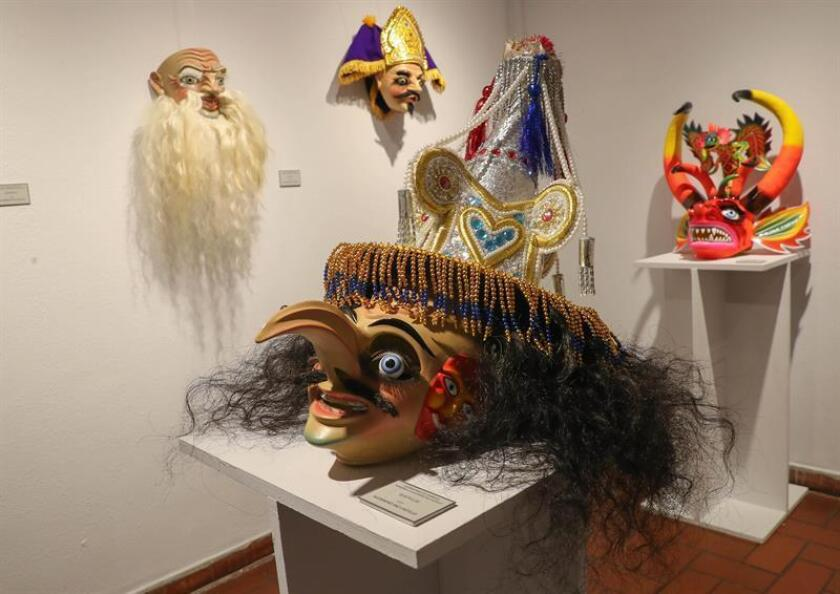 Photo showing Carnival masks on display at La Paz's Local Customs Museum on Feb. 27, 2019. EFE-EPA/Martin Alipaz