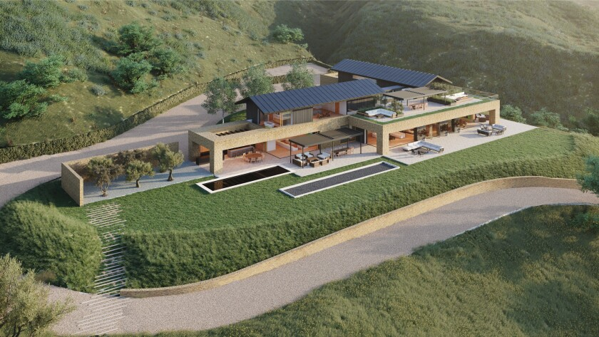 A rendering of a planned 12,000-square-foot modern mansion overlooking the Pacific Ocean.