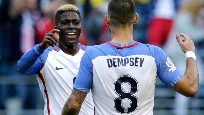 U.S. forwards Gyasi Zardes and Clint Dempsey celebrate after a goal against Ecuador in a Copa American game in June.