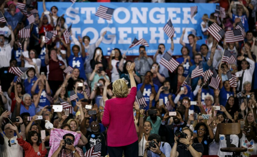 Hillary Clinton waves to the crowd at a campaign rally in Philadelphia on Friday, the day after accepting the Democratic nomination.