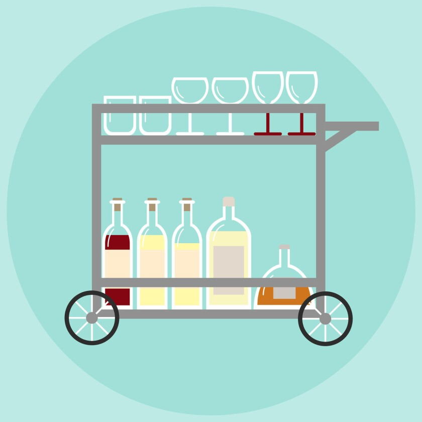 A bar cart is a stylish way to serves drinks to guests.