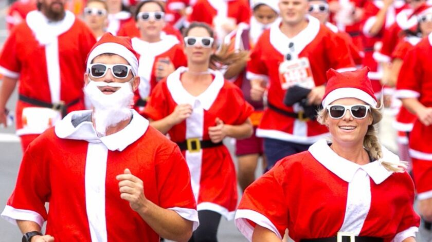 San Diego Santa Run in Pacific Beach.