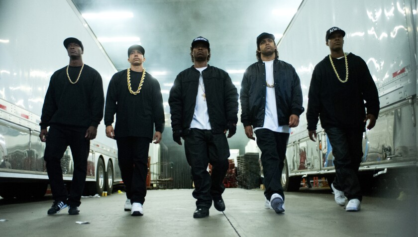 """This photo provided by Universal Pictures shows, Aldis Hodge, left, as MC Ren, Neil Brown Jr. as DJ Yella, Jason Mitchell as Eazy-E, O'Shea Jackson Jr. as Ice Cube and Corey Hawkins as Dr. Dre, in the film """"Straight Outta Compton."""""""