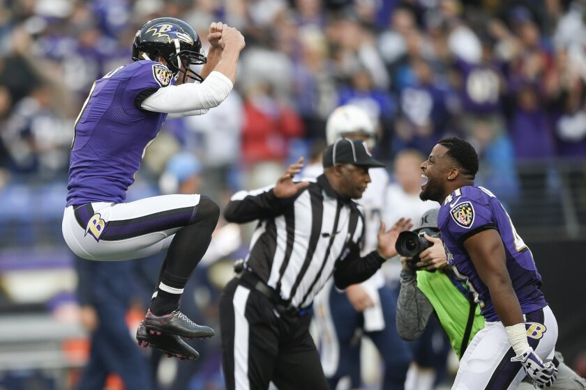 Baltimore Ravens kicker Justin Tucker (9) celebrates his game winning field goal with teammate cornerback Anthony Levine (41) during the second half of an NFL football game against the San Diego Chargers in Baltimore, Sunday, Nov. 1, 2015. The Ravens defeated the Chargers 29-26. (AP Photo/Nick Wass