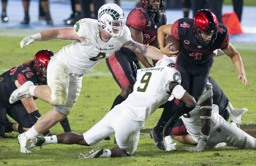 San Diego State's Jordon Brookshire runs during last week's game against Colorado State.