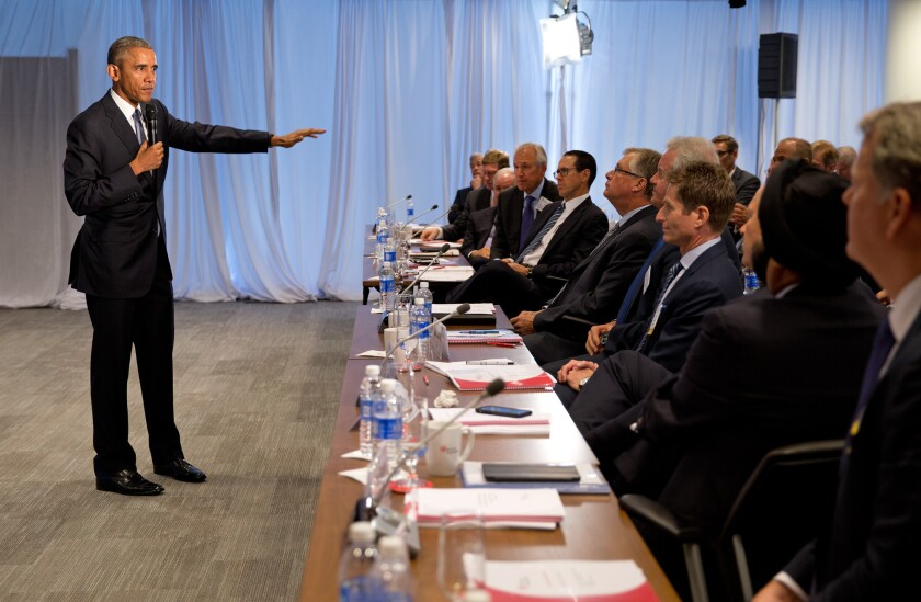 President Obama addresses the quarterly meeting of the Business Roundtable on Sept. 16 about the current state of the economy.