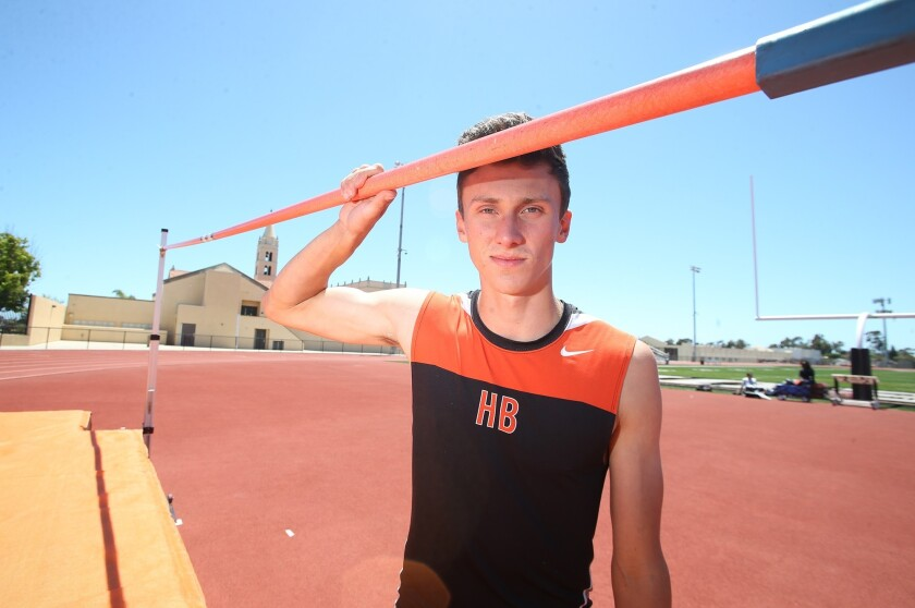 Huntington Beach senior high jumper Jack Wiseman won a CIF Southern Section Masters Meet title with