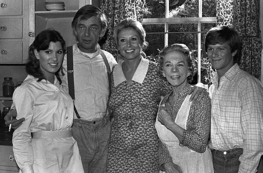 """Ralph Waite, second from left, played patriarch John Walton on """"The Waltons,"""" which aired on CBS from 1972 to 1981."""